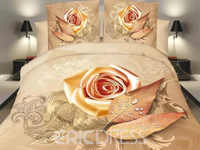 Ericdress Beautiful Orange Rose Print 3D Bedding Sets 11813517