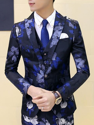Ericdress Floral Print Slim Three-Piece of Men's Suit