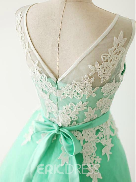 Ericdress Scoop A-Line Appliques Bowknot Sashes Short Prom Dress