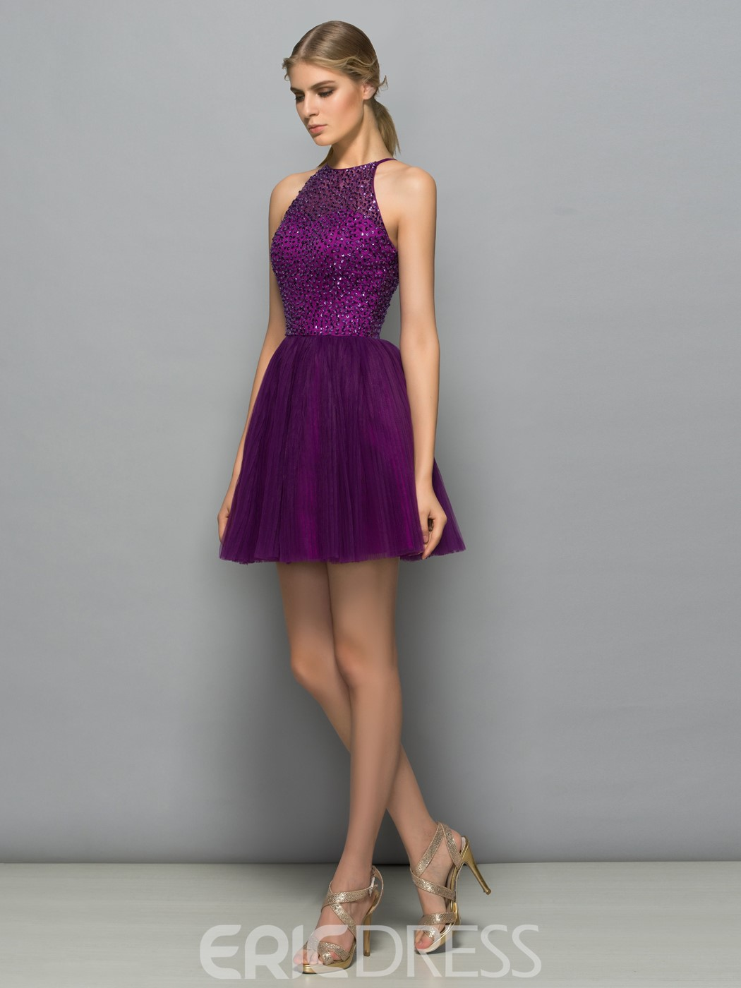 Ericdress Halter Sequins Beading Short Cocktail Dress