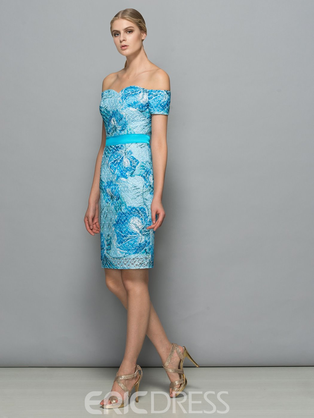 Ericdress Off-the-Shoulder Sheath Lace Ribbons Short Cocktail Dress