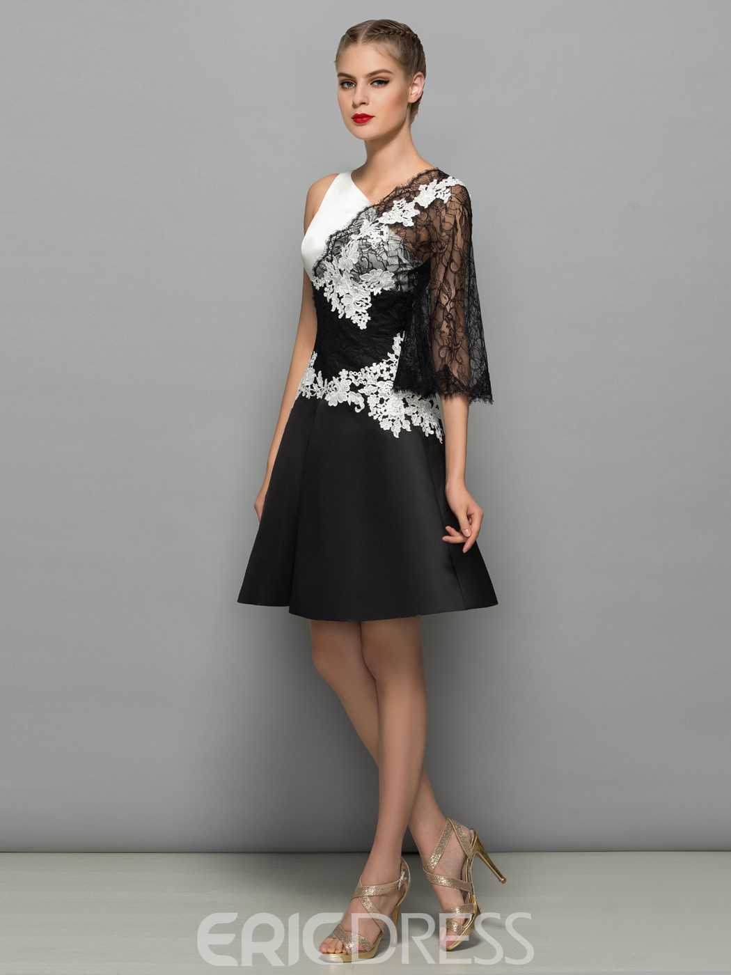 Ericdress A-Line V-Neck Appliques Lace Short Cocktail Dress