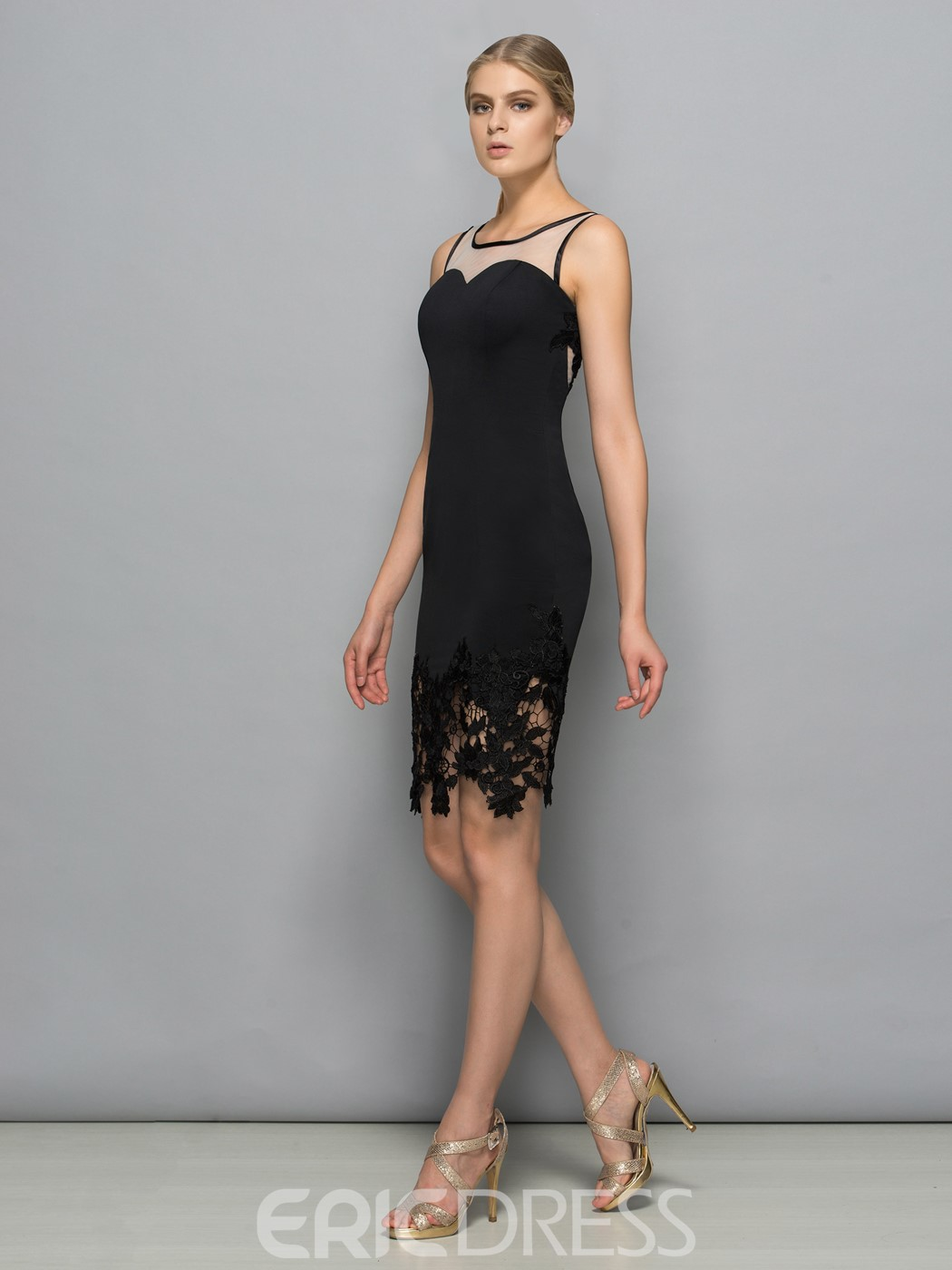 Ericdress Square Neck Lace Sheath Black Cocktail Dress
