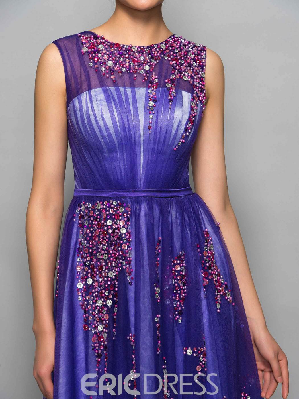 Ericdress A-Line Jewel Beading Crystal Pearls Knee-Length Cocktail Dress