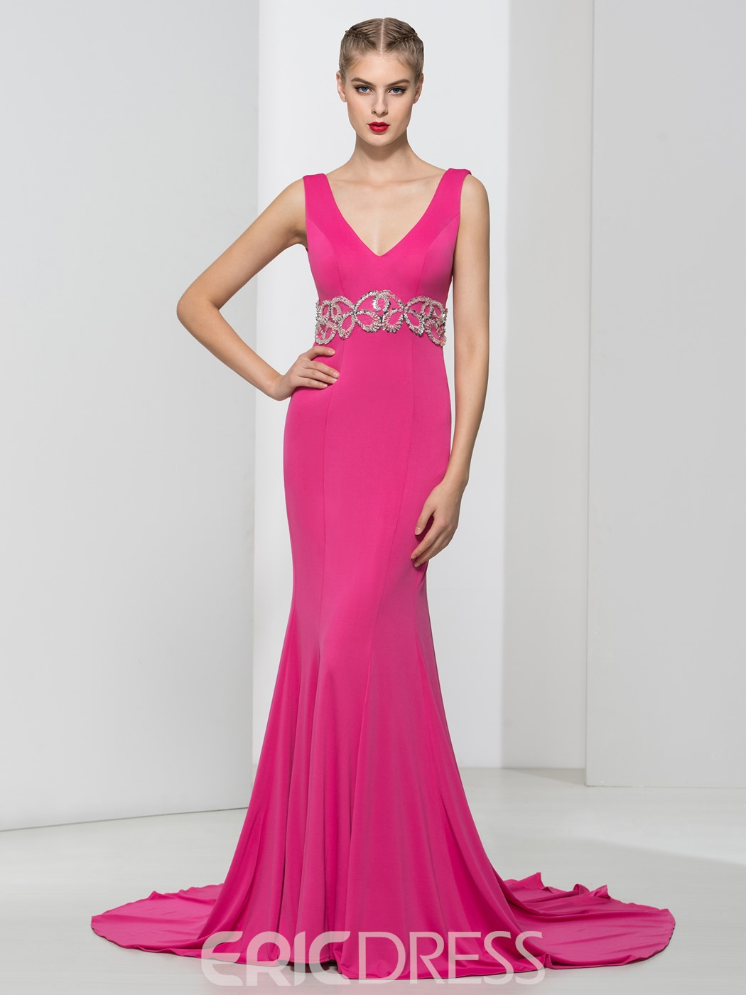 Ericdress V-Neck Sequins Beading Mermaid Evening Dress