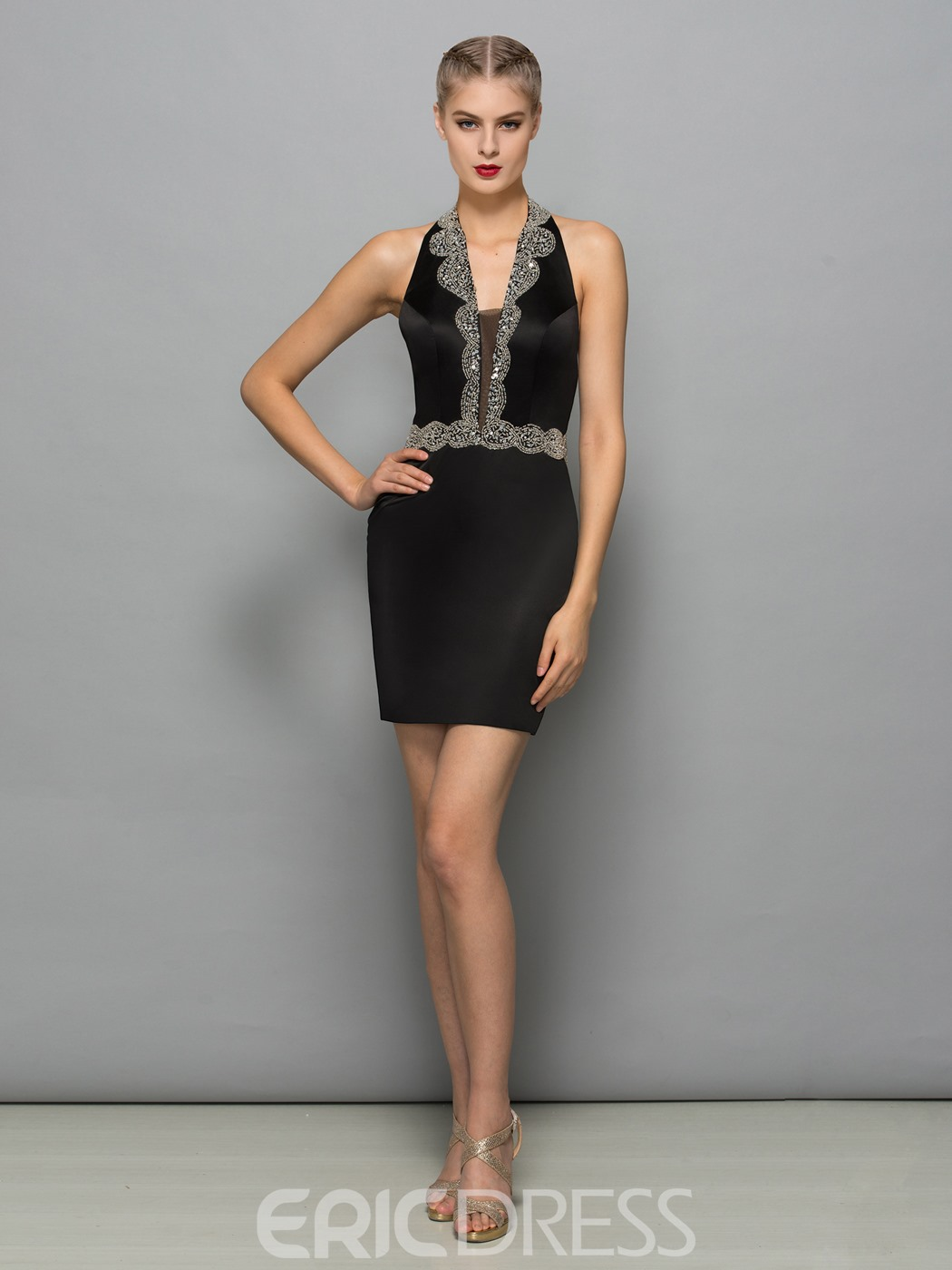 Ericdress Halter Sheath Sequins Mini Cocktail Dress With Beadings