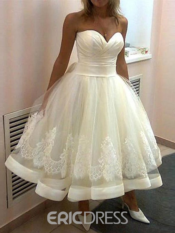 Ericdress Simple Sweetheart Tea Length Wedding Dress