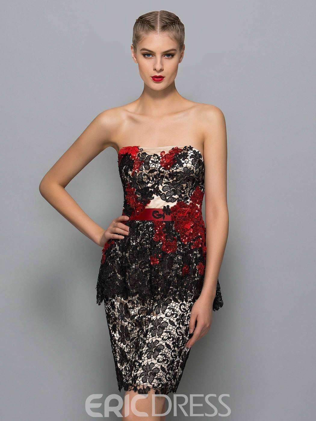 Ericdress Strapless Appliques Sequins Column Cocktail Dress