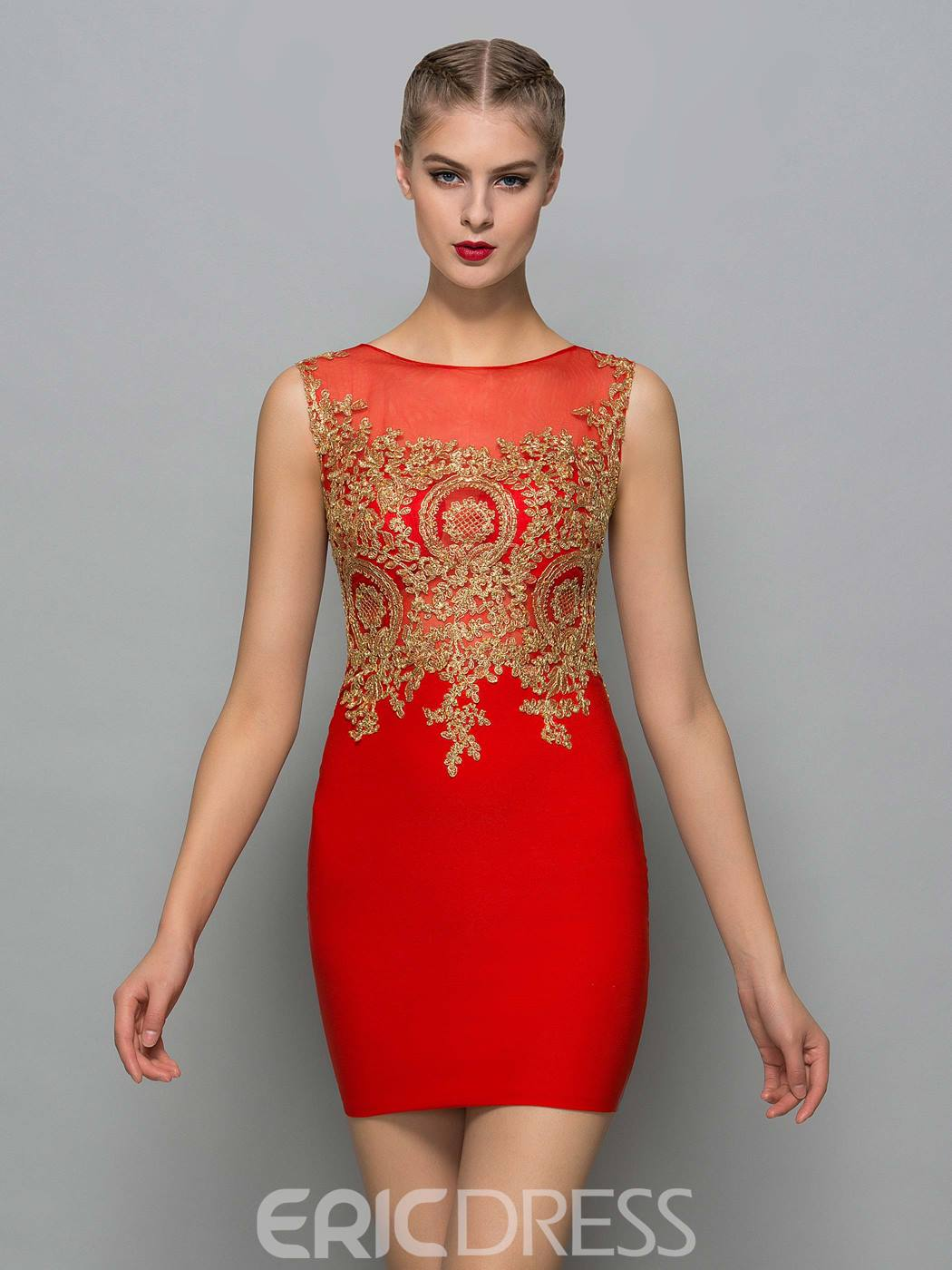 Ericdress Scoop Neck Appliques Red Sexy Cocktail Dress 11920126 ...