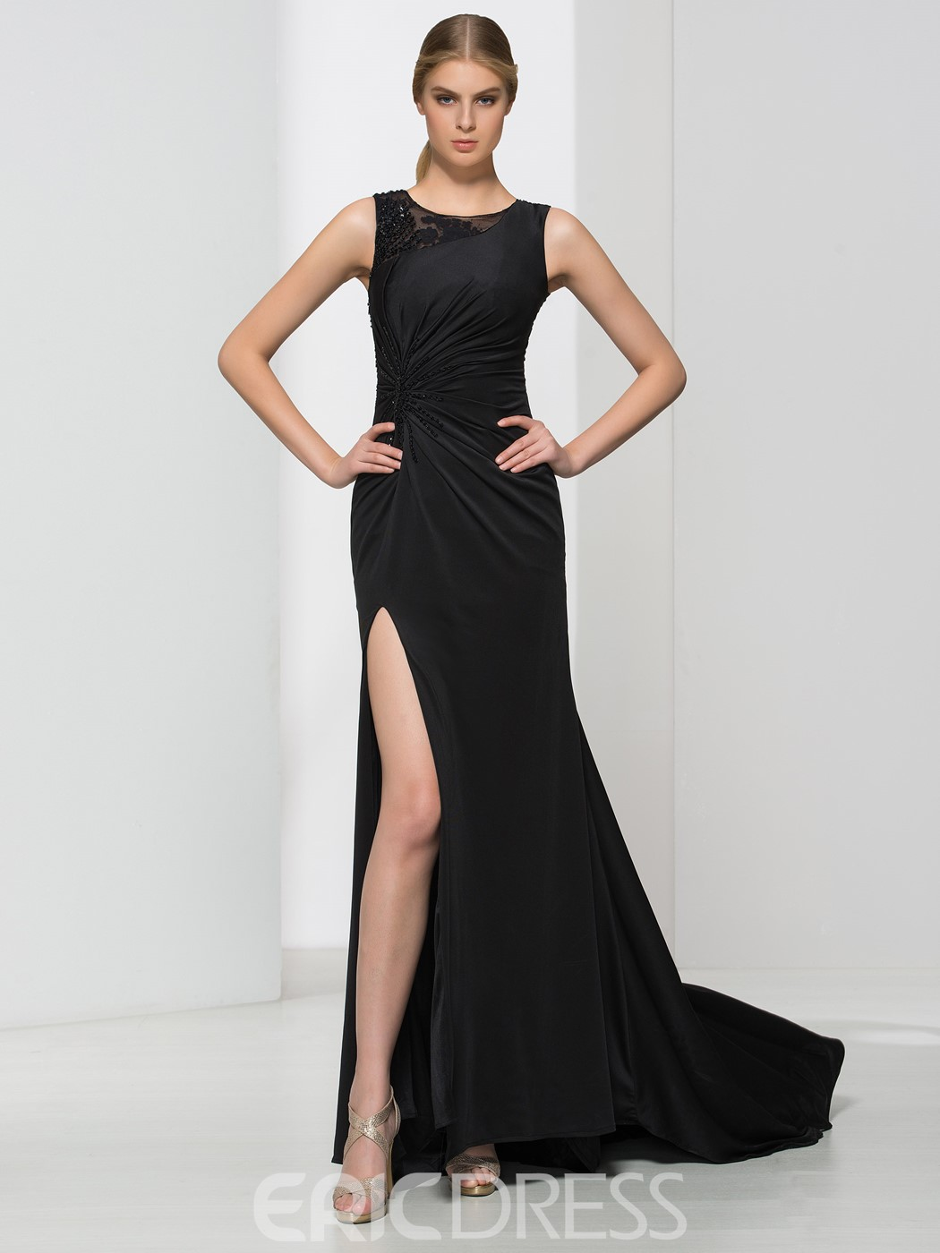 Ericdress Sheath Sequins Pleats Split-Front Evening Dress