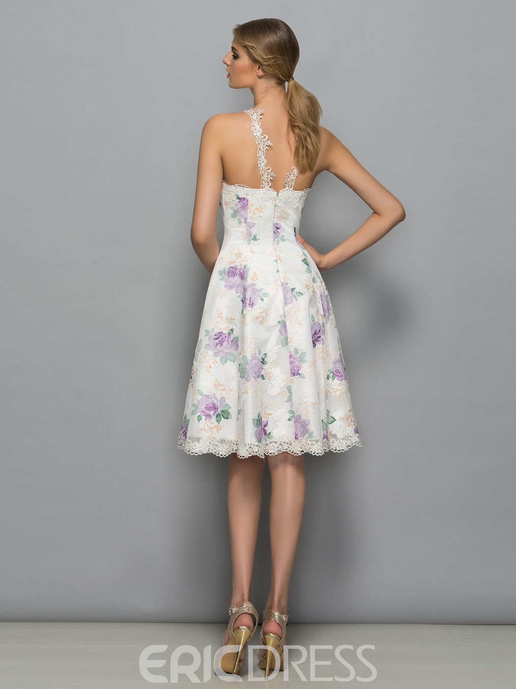 Ericdress A-Line Halter Lace Print Cocktail Dress