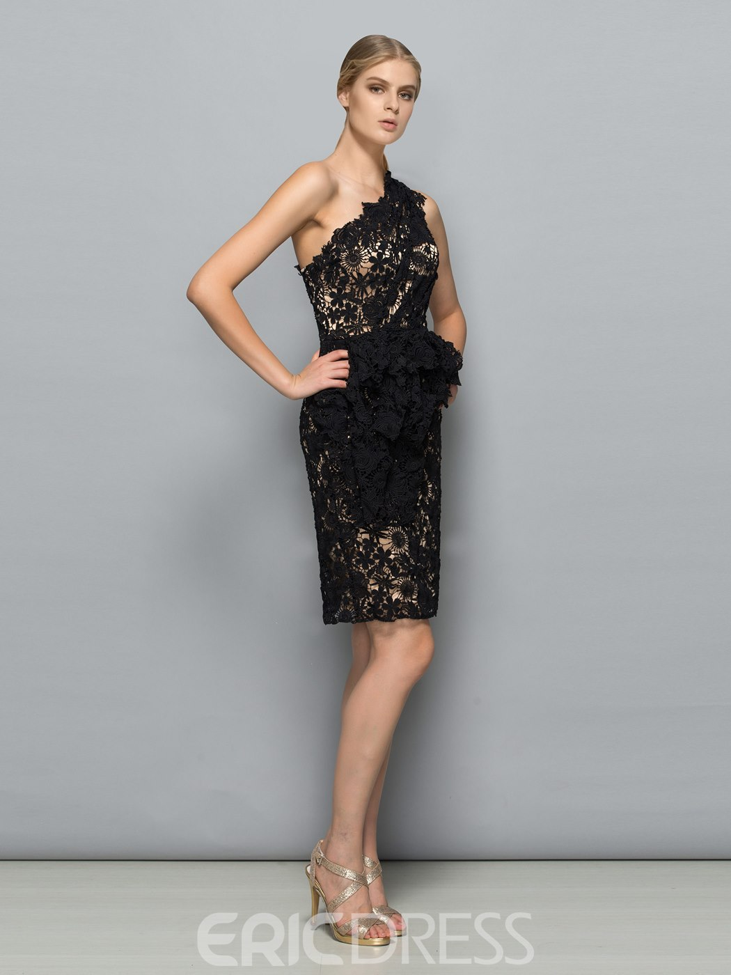 Ericdress Short One-Shoulder Sheath Lace Evening Dress
