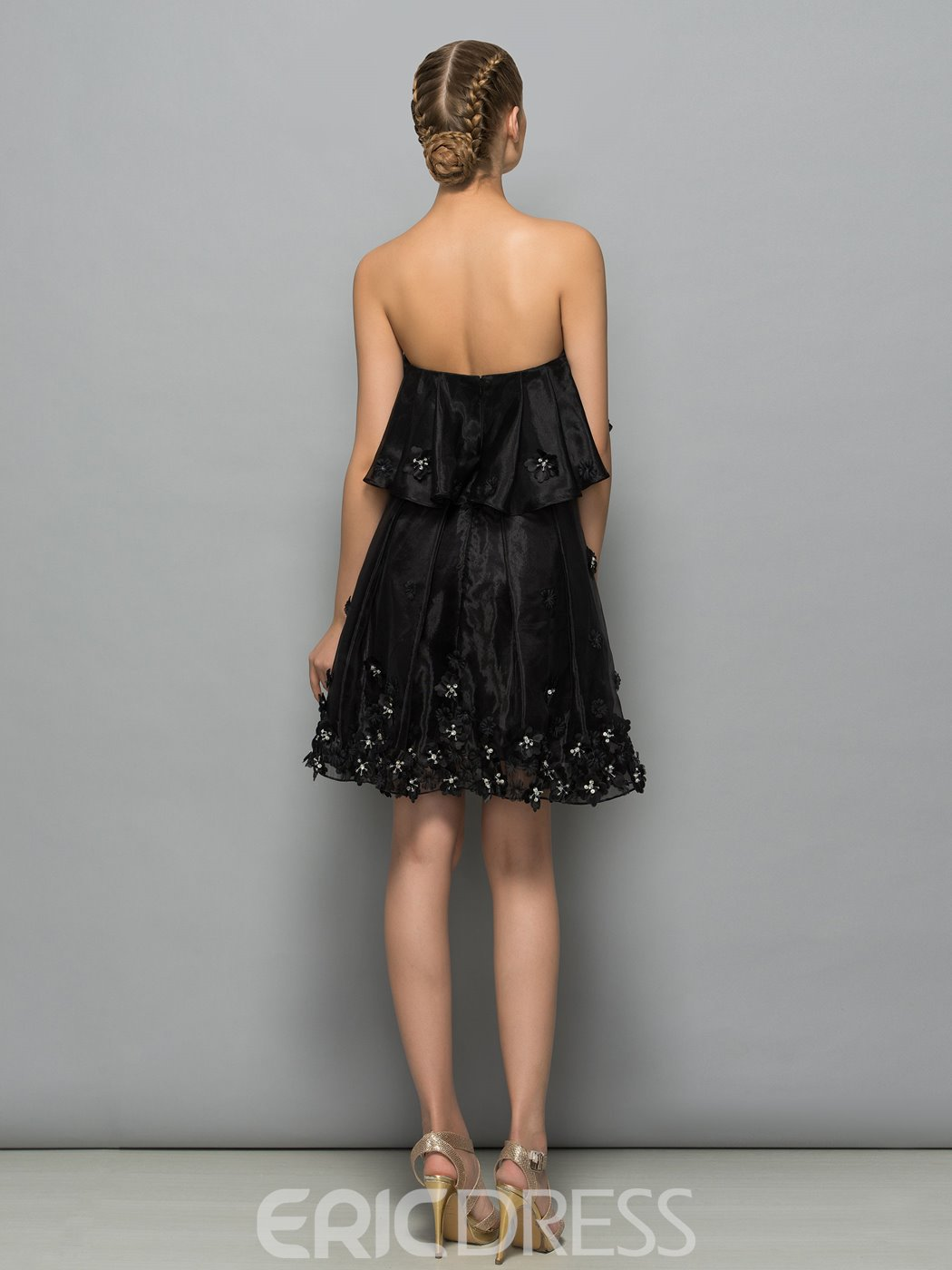 Ericdress Strapless Flowers Beaded High Waist Little Black Cocktail Dress