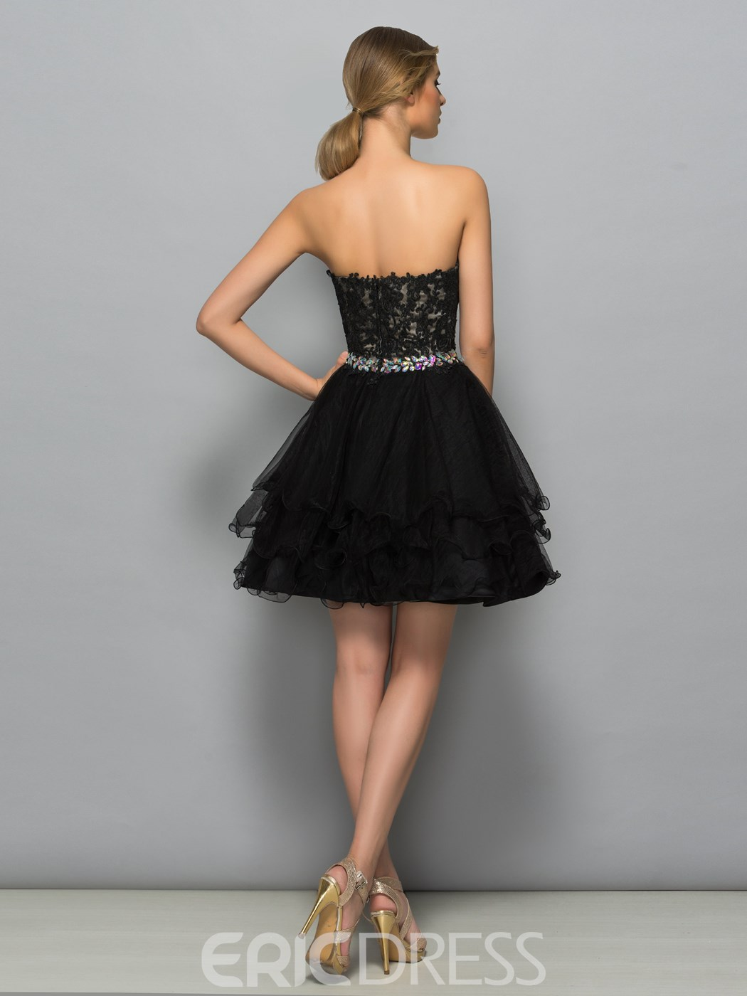 Ericdress Sweetheart Appliques Beading Ruffles Cocktail Dress