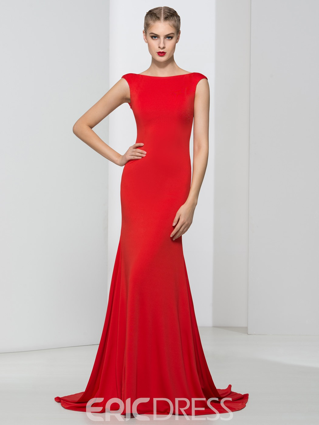 Ericdress Bateau Neck Backless Trumpet Sexy Evening Dress