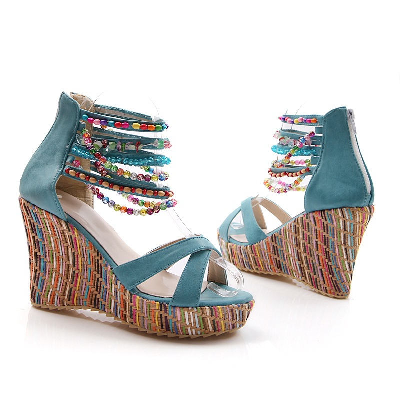 Ericdress Bohemian Beaded Wedge Sandals
