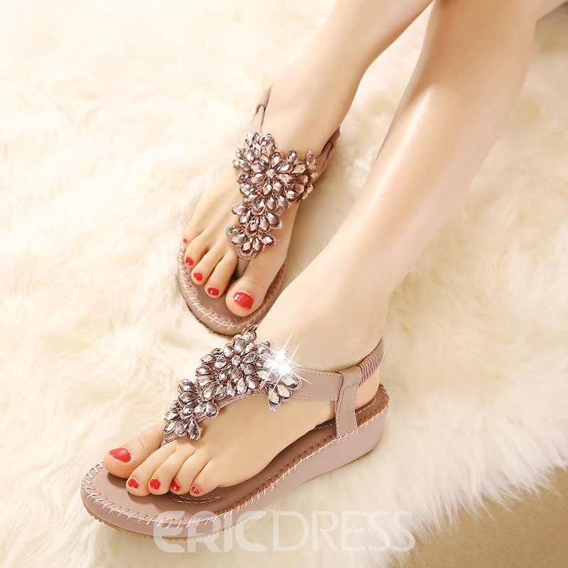 Ericdress Rhinestone Beach Sandals