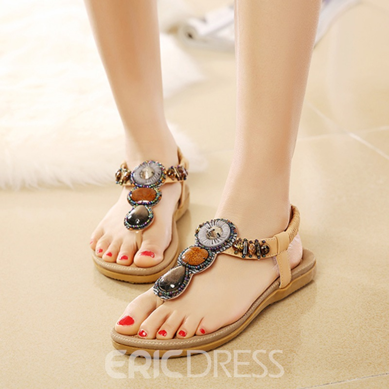58dacbac944d3 Ericdress Beaded Elastic Band Slingback Flat Sandals 11812550 ...