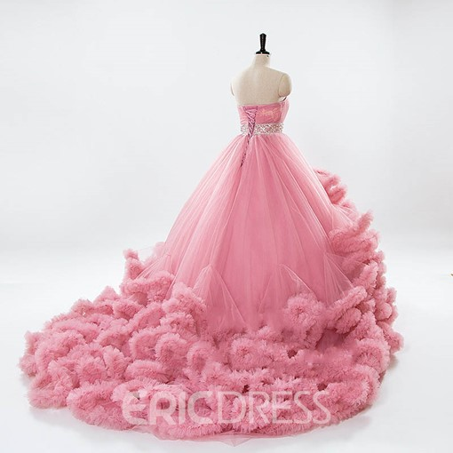 Ericdress Beaded Ruffles Ball Gown Color Wedding Dress