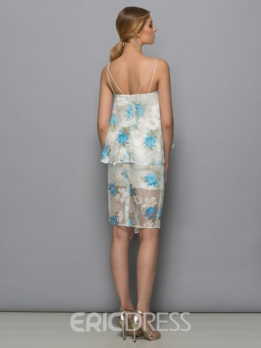 Ericdress Straps Column Lace Print Ruffles Tiered Cocktail Dress