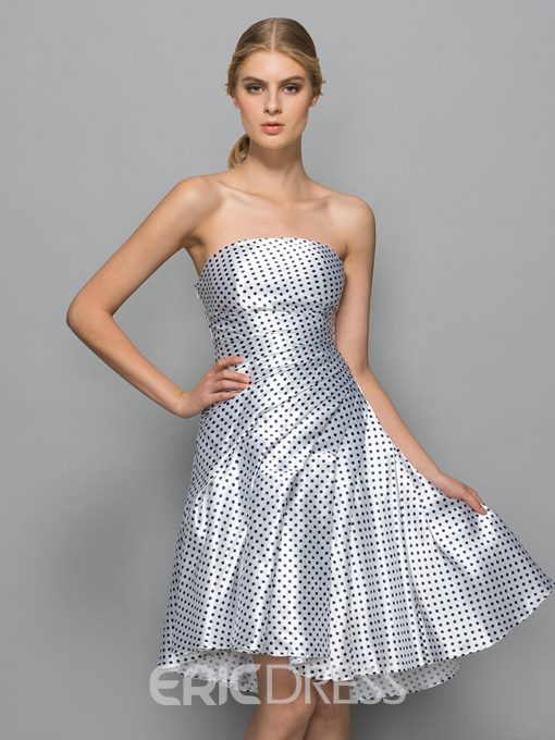 Ericdress Strapless A-Line Pleats Asymmetry Cocktail Dress