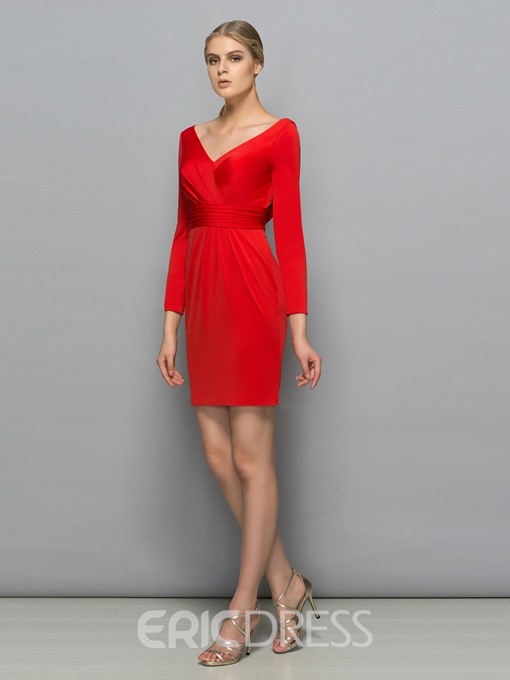Ericdress Long Sleeves V-Neck Sheath Draped Pleats Mini Cocktail Dress