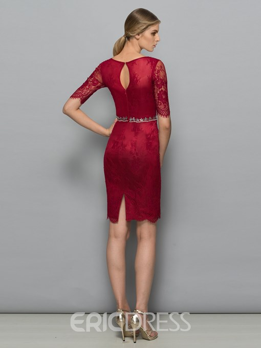 Ericdress Sheath Bateau Beading Hollow Lace Knee-Length Cocktail Dress