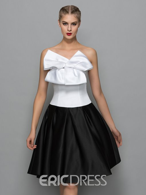 Ericdress Strapless Bowknot Knee Length Cocktail Dress