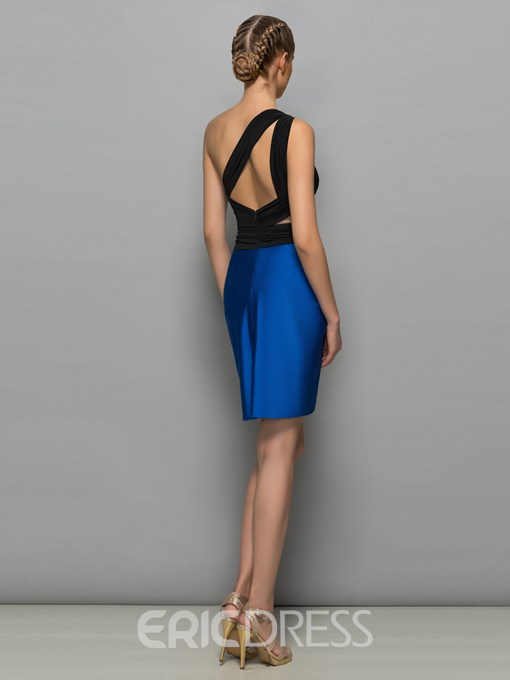 Ericdress One-Shoulder Sheath Hollow Pleats Cocktail Dress