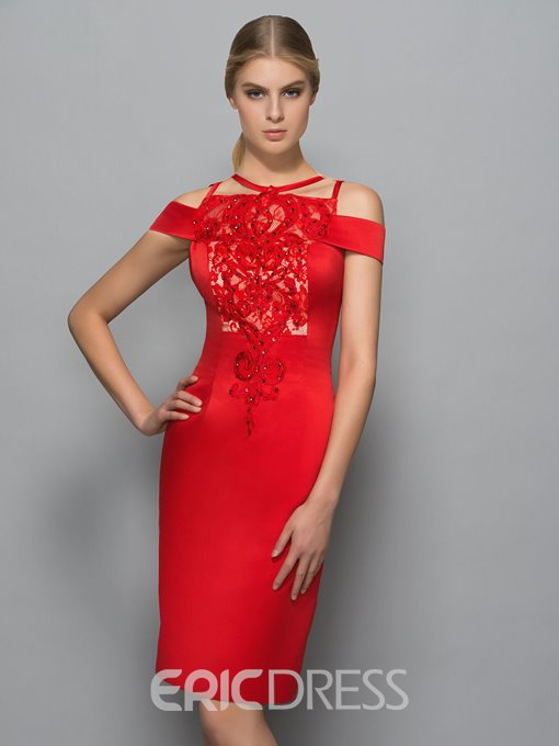 Ericdress Halter Lace Beading Sheath Red Cocktail Dress