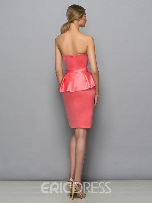 Ericdress Sweetheart Bowknot Ruffles Column Cocktail Dress