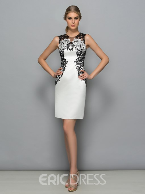 Ericdress Scoop Neck Appliques Column Cocktail Dress