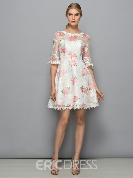 Ericdress Scoop Neck Print Lace Short Cocktail Dress