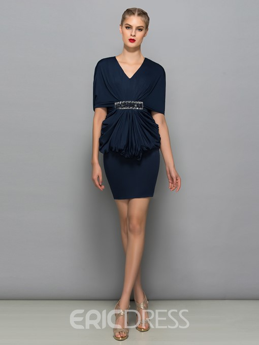 Ericdress V-Neck Draped Beading Sheath Cocktail Dress