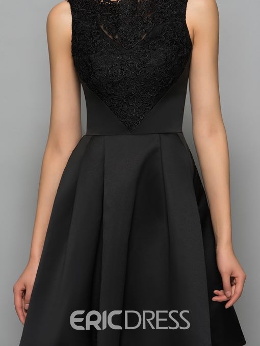 Ericdress Straps Lace Short Black Cocktail Dress