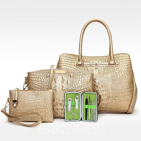 Ericdress Classic Croco-Embossed Handbags(4 Bags)