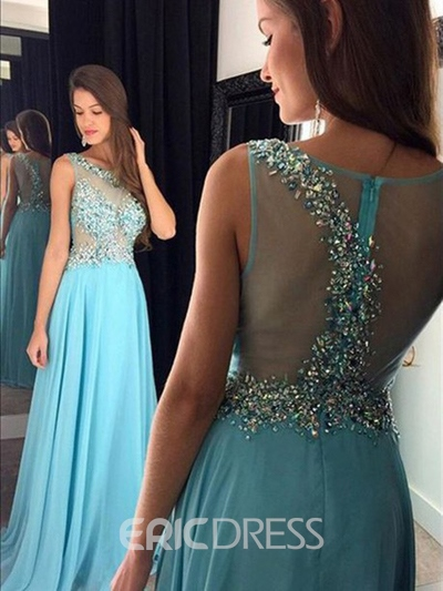 Ericdress Sleeveless Crystal A-Line Floor-Length Prom Dress