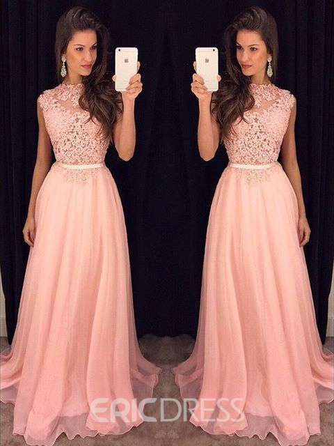 Ericdress Jewel Appliques Floor-Length A-Line Prom Dress