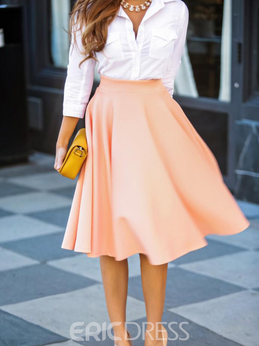 Ericdress Solid Color A-Line Full Usual Skirt