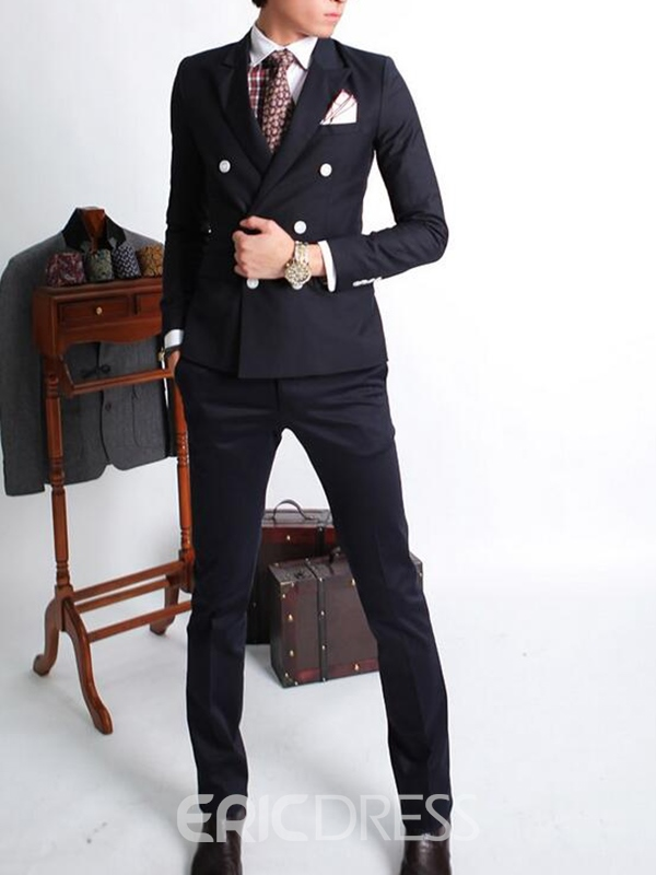 Ericdress Double-Breasted Casual Men's Suit