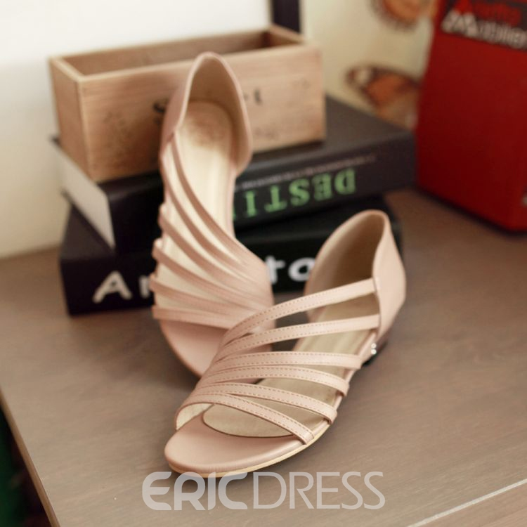Ericdress Simple Open Toe Flat Sandals