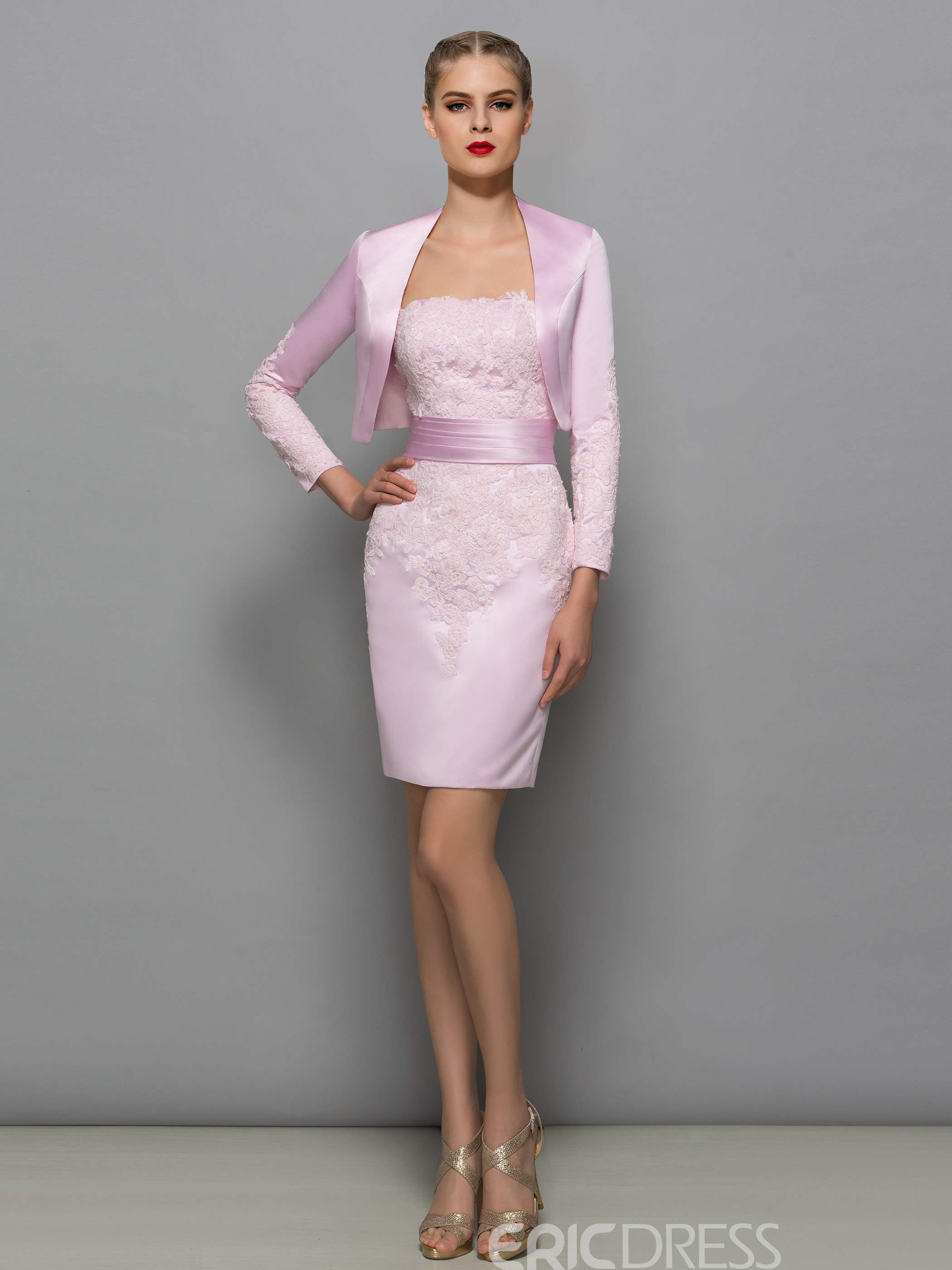 Ericdress Elegant Strapless Appliques Short Mother Of The Bride Dress With Jacket