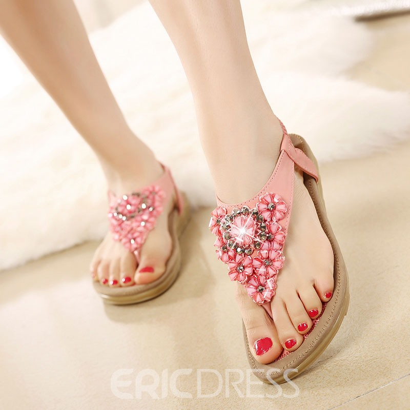 Ericdress Flower Elastic Band Thong Flat Sandals