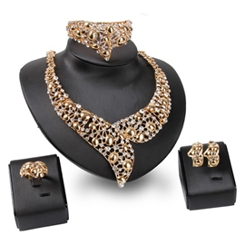 Hollow Metal Zircon Golden Four-Piece Jewelry Set