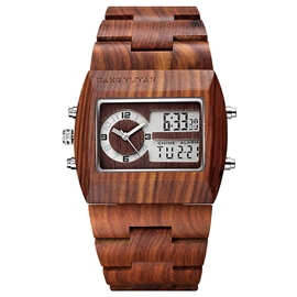 Ericdress doble movimiento madera Watch de Men