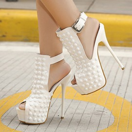 Ericdress Trendy Rivets Peep Toe Stiletto Sandals