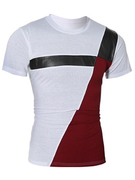 Ericdress Iregular Patchwork Short Sleeve Slim Men's T-Shirt