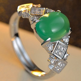 Ericdress Creative Green Water Drop Open Ring