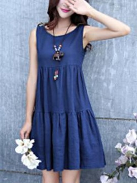 Ericdress Pastoral Plain Falbala Casual Dress