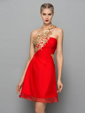 Ericdress une épaule paillettes plis robe de Cocktail rouge